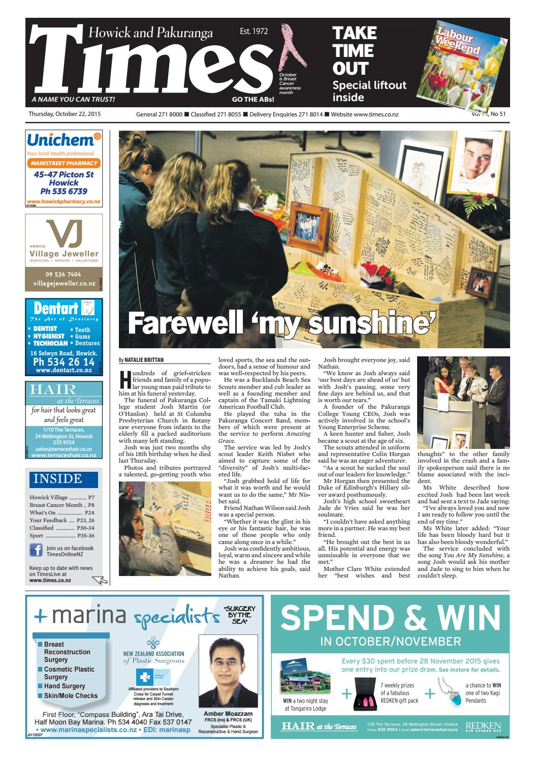 Howick and pakuranga times oct 22 2015 by Times Media - issuu