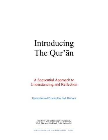 Introducing the quran final copy by Badr Hash - issuu