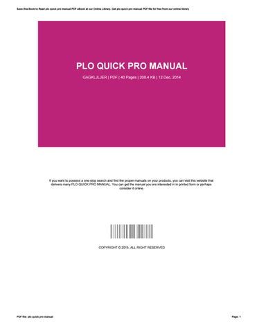 plo quick pro manual by katherinecarter2424 issuu rh issuu com plo quickpro manual pdf QuickPro Herbicide