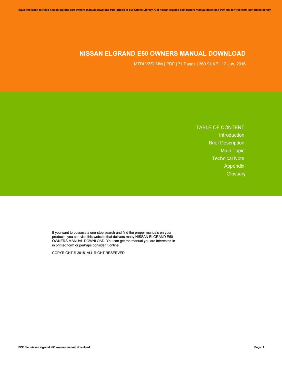Nissan elgrand e50 owners manual english.
