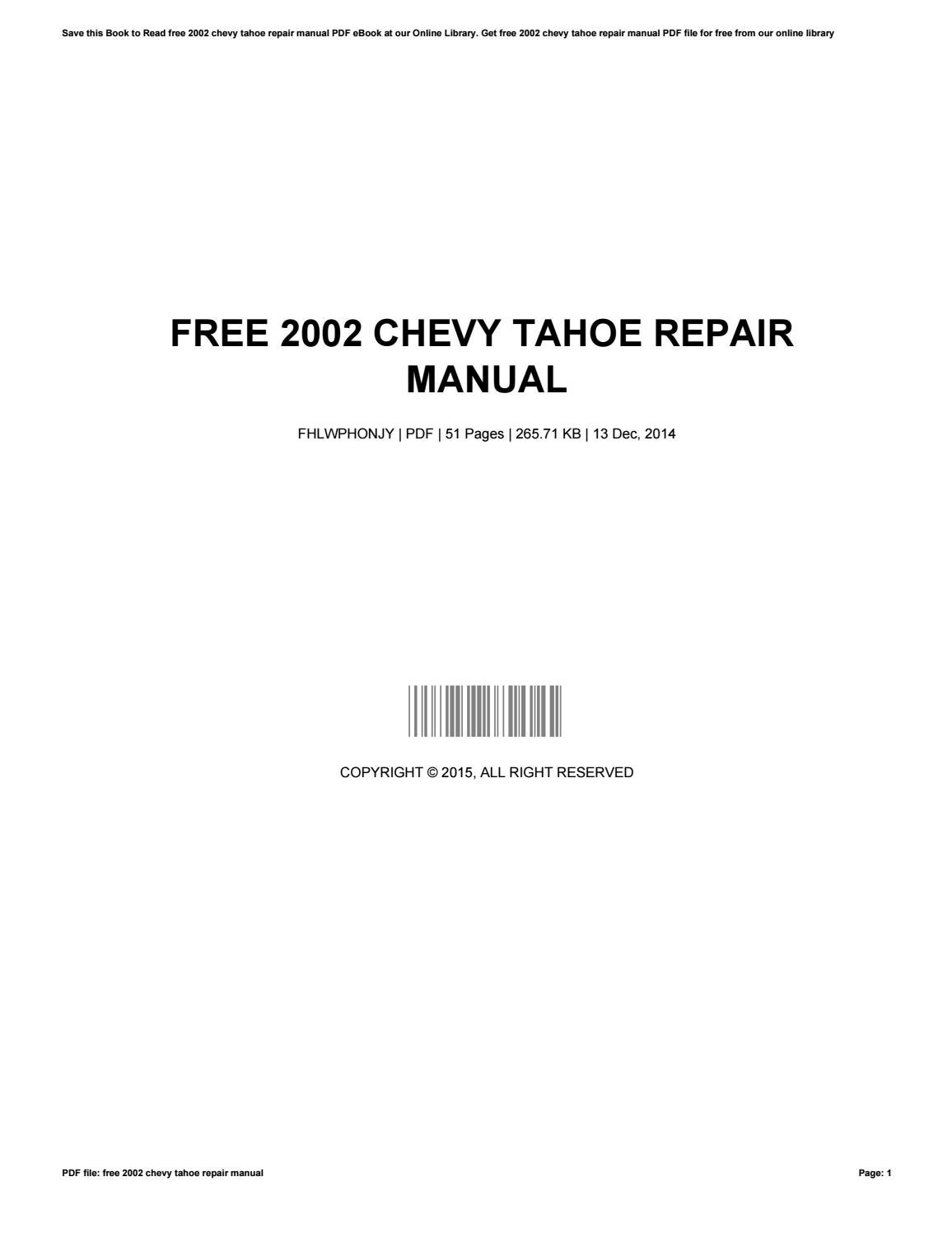 Not a SERVICE manual. Last edited: Dec. Forum software by XenForo™  ©2010-2015 XenForo Ltd. XenForo style by Pixel. Chevrolet Tahoe for  factory, ...