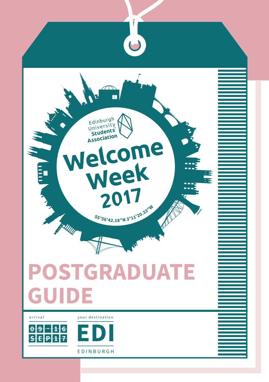 Edinburgh Welcome Week Postgraduate Guide 2017 By Edinburgh
