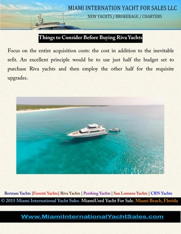 Things to consider before buying riva yachts by miami yacht