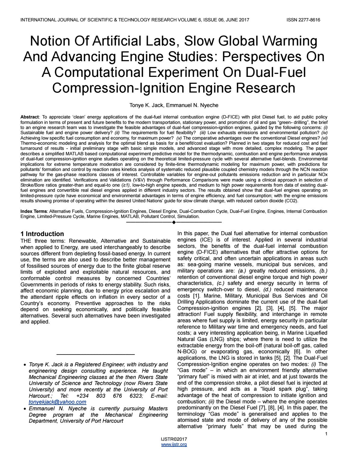 Notion Of Artificial Labs Slow Global Warming And Advancing Engine Studies Perspectives On A Computa By Ijstr Research Publications Issuu