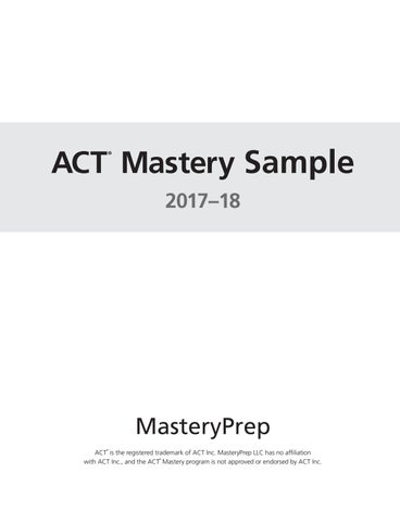 Sample ACT Mastery Complete 2017 18 By MasteryPrep Issuu