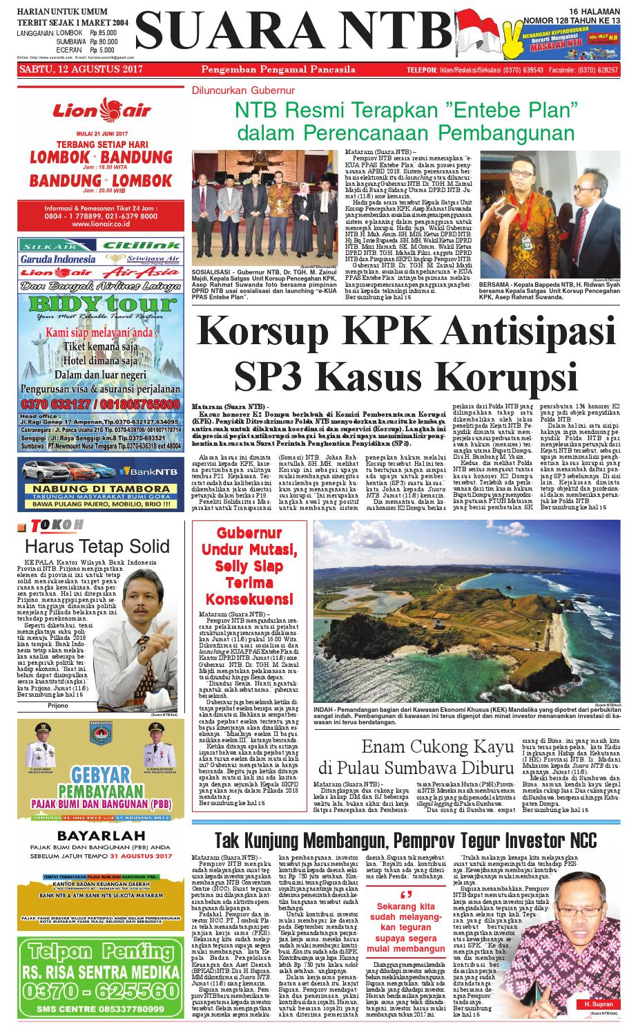Edisi 12 Agustus 2017 Suara Ntb By E Paper Kmb Issuu