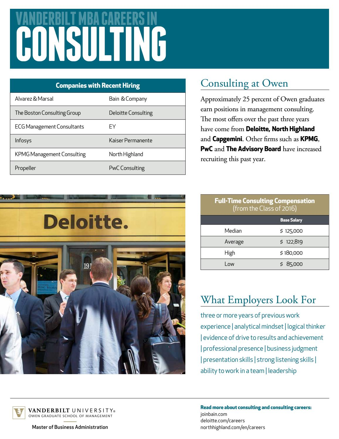 Vanderbilt MBA Careers in Consulting by Vanderbilt Owen