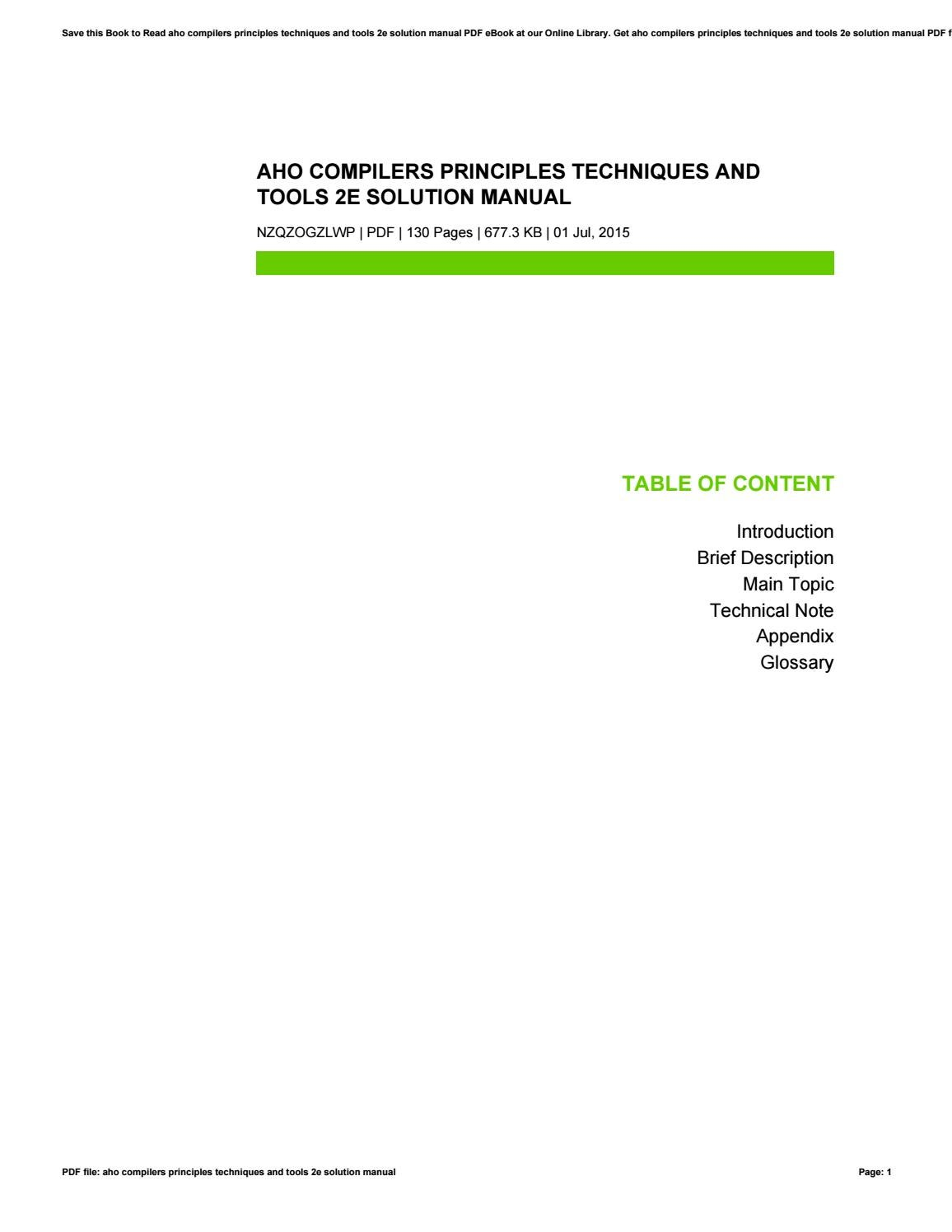 Aho compilers principles techniques and tools 2e solution manual by  AlexandriaKennedy242111 - issuu