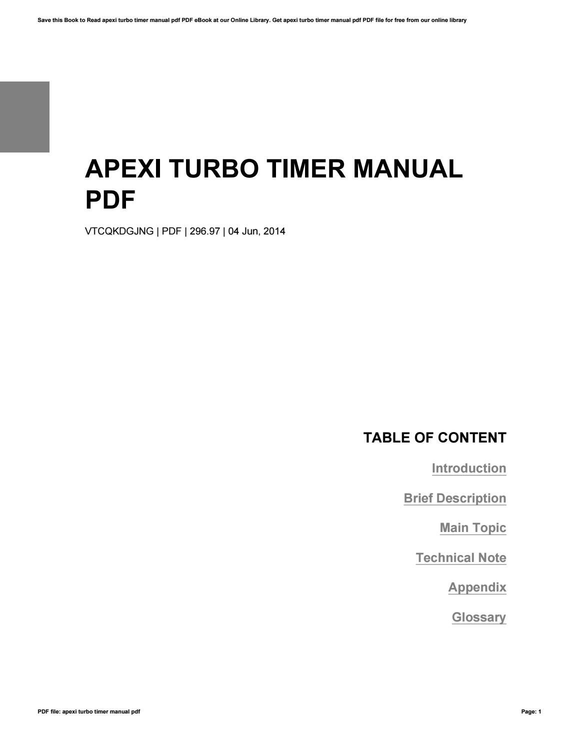 Apexi turbo timer manual pdf by MaryCampbell1826 - issuu
