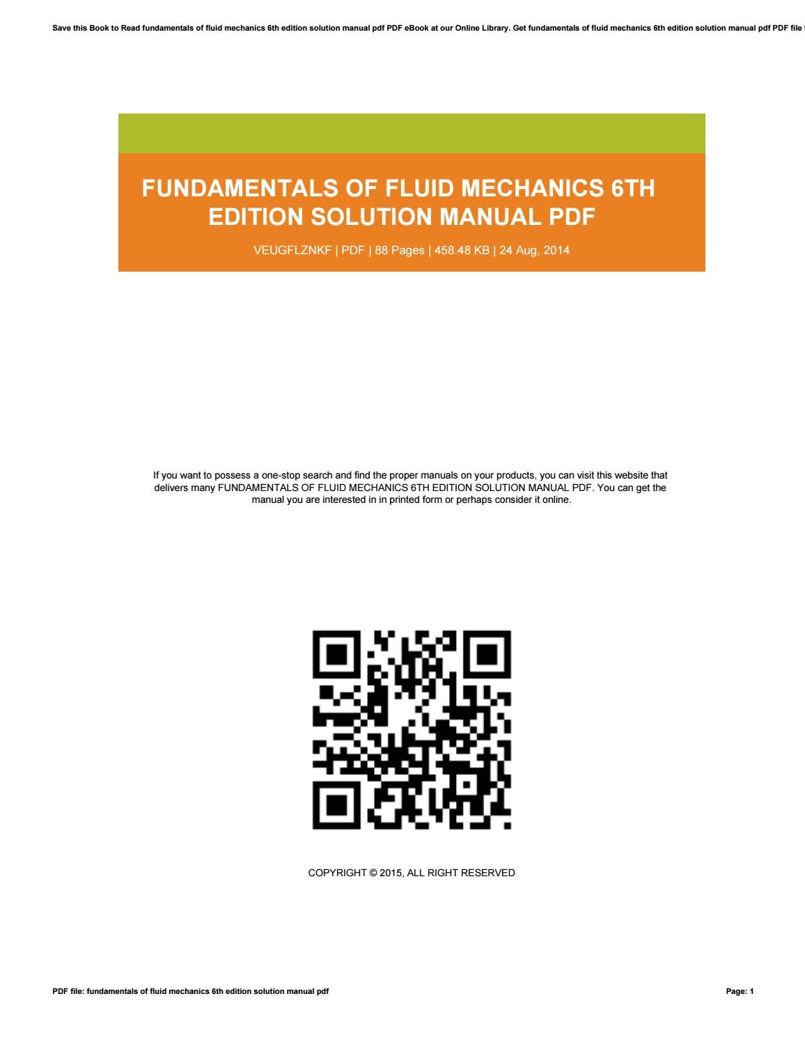 Fundamentals of fluid mechanics 6th edition solution manual pdf by  PeggyLett1964 - issuu