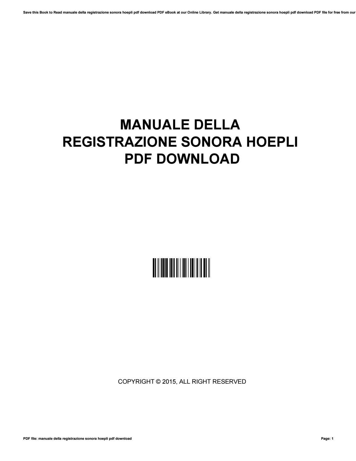Manuale della registrazione sonora hoepli pdf download by JamesProctor2929  - issuu