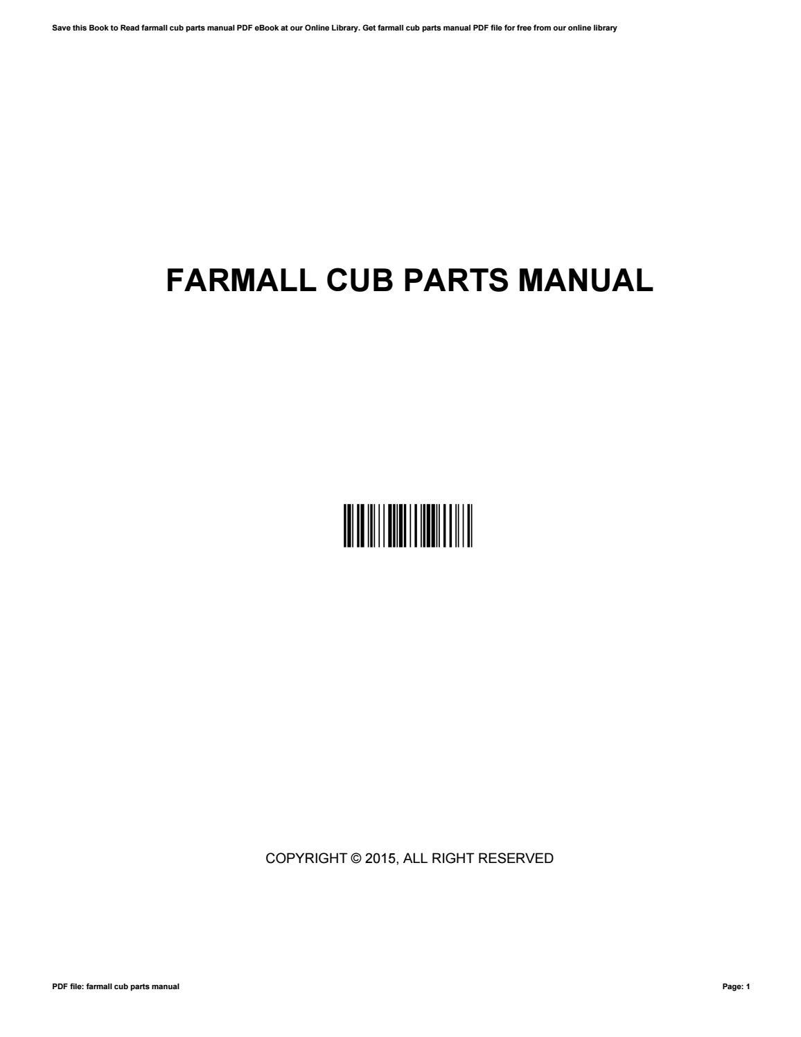 Farmall cub parts manual by MichaelMintz4376 - issuu