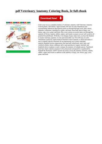 Pdf Veterinary Anatomy Coloring Book 2e Full Ebook PDF Free Download