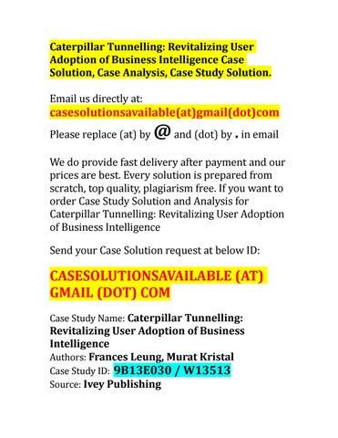 caterpillar case study solution