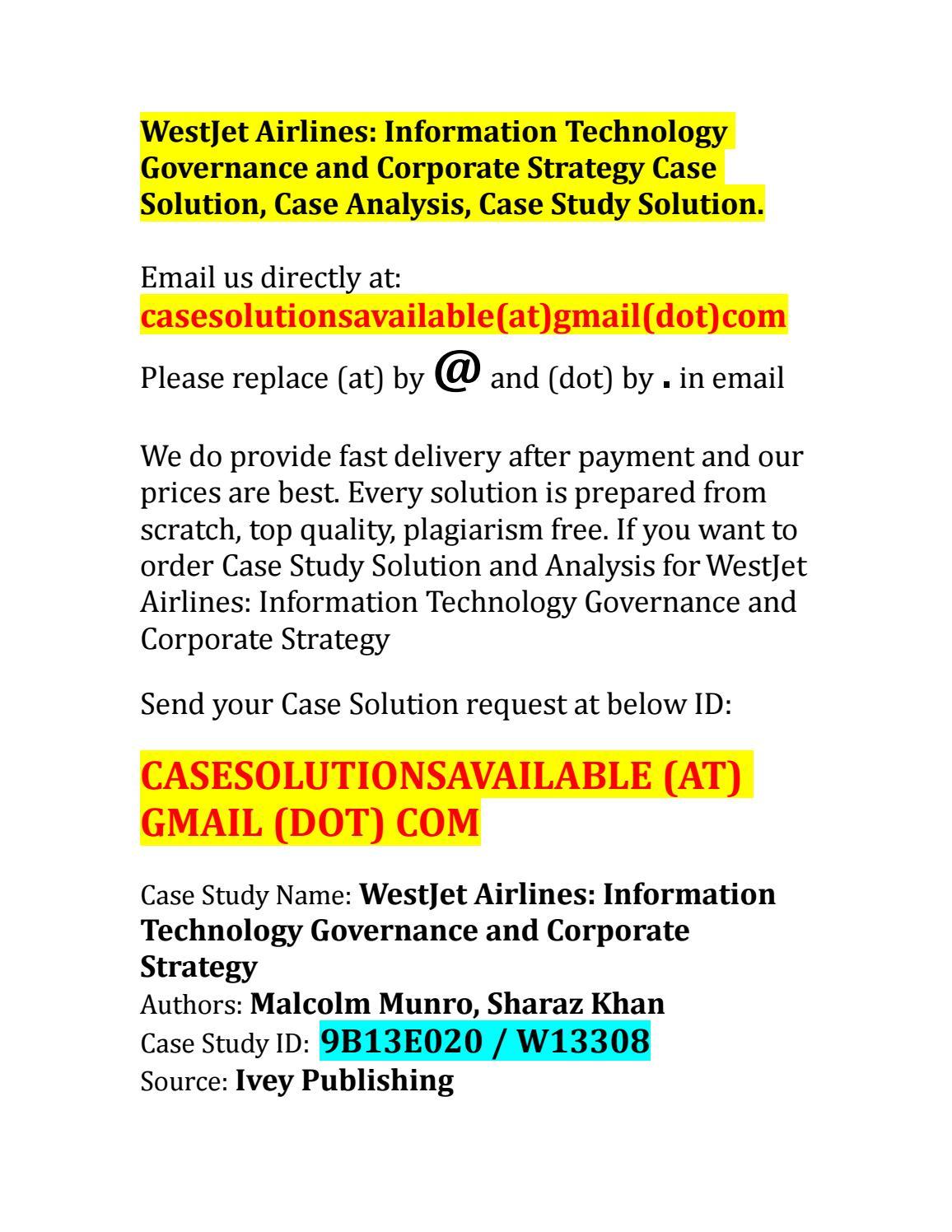 Case Solution for WestJet Airlines: Information Technology