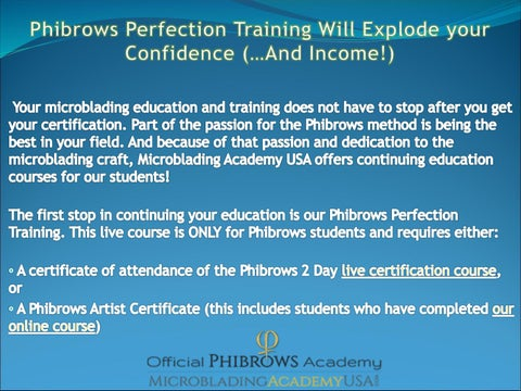 Phibrows perfection training will explode your confidence