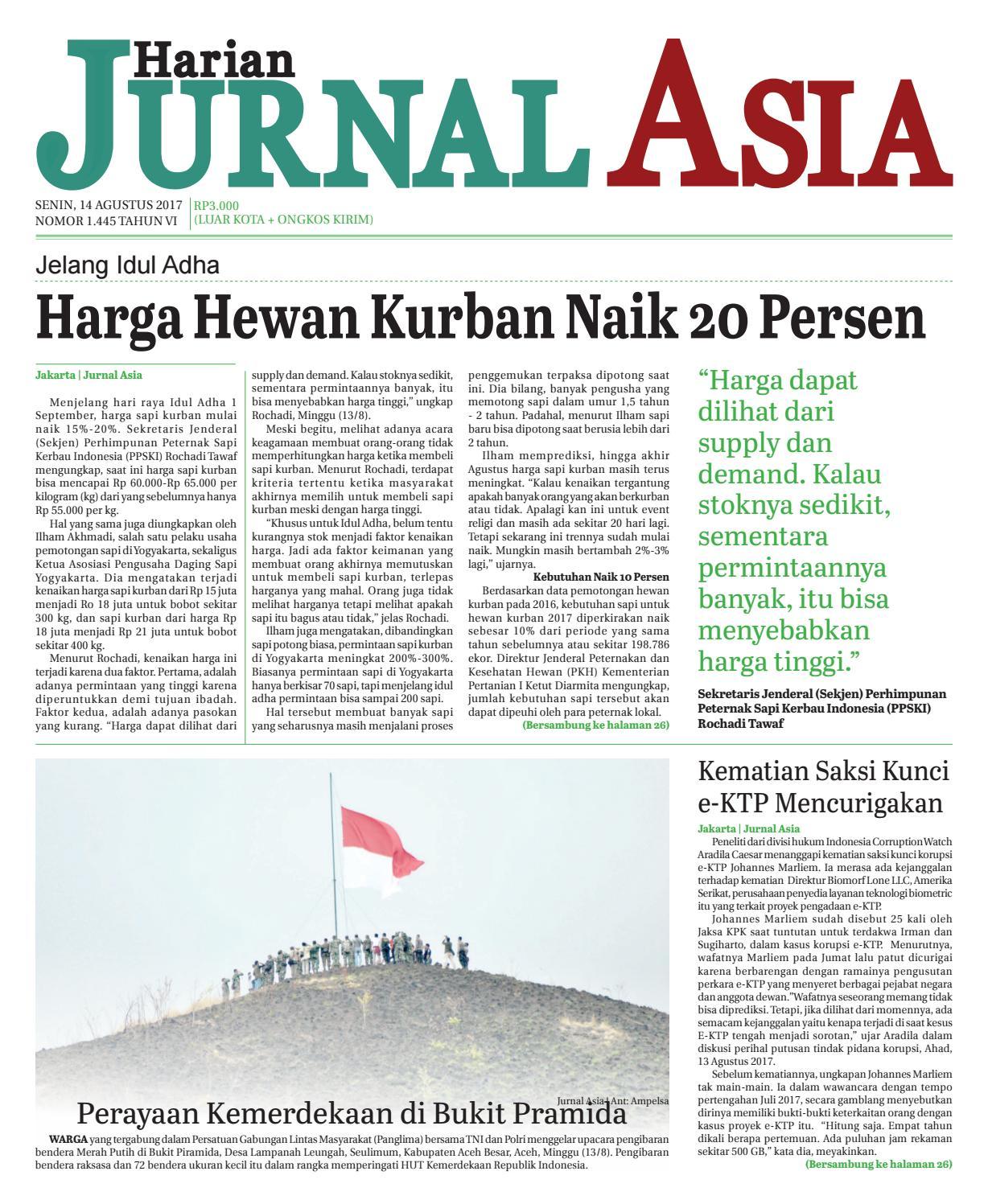Harian Jurnal Asia Edisi Senin 14 Agustus 2017 By Produk Ukm Bumn Kain Batik Middle Premium 3 Bendera 01 Medan Issuu