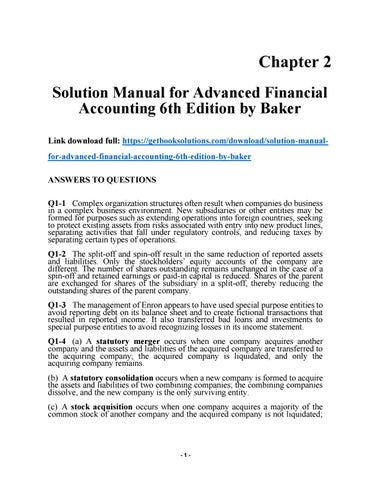 solution manual for advanced financial accounting 6th edition by rh issuu com solution manual advanced financial accounting baker chapter 18 solution manual advanced financial accounting 10th edition