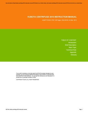 kubota centrifuge 2010 instruction manual by hallielong2425 issuu rh issuu com