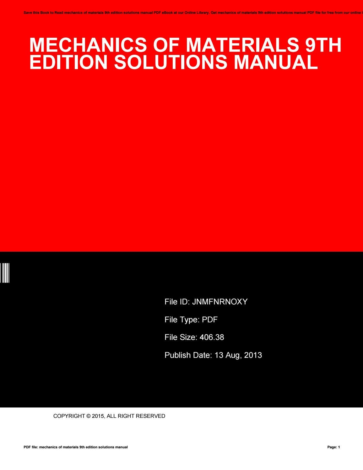 Mechanics of materials 9th edition solutions manual by MariaWeishaar4148 -  issuu
