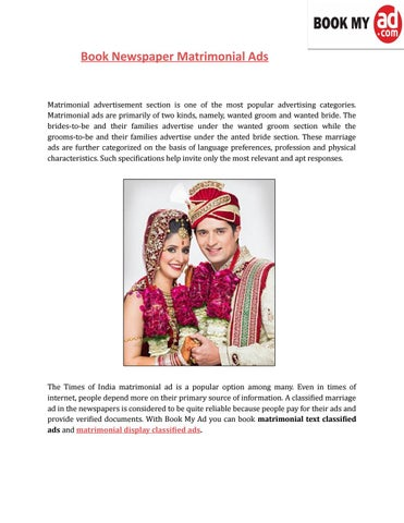 Book newspaper matrimonial ,text classified & display ads book my ad