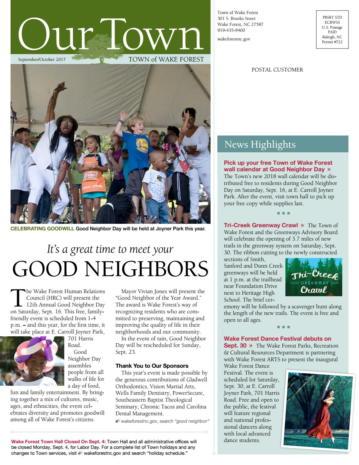 Our Town: Sept/Oct 2017 by Town of Wake Forest - issuu