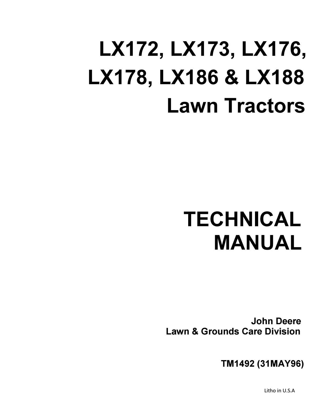 John deere lx172 lawn garden tractor service repair manual