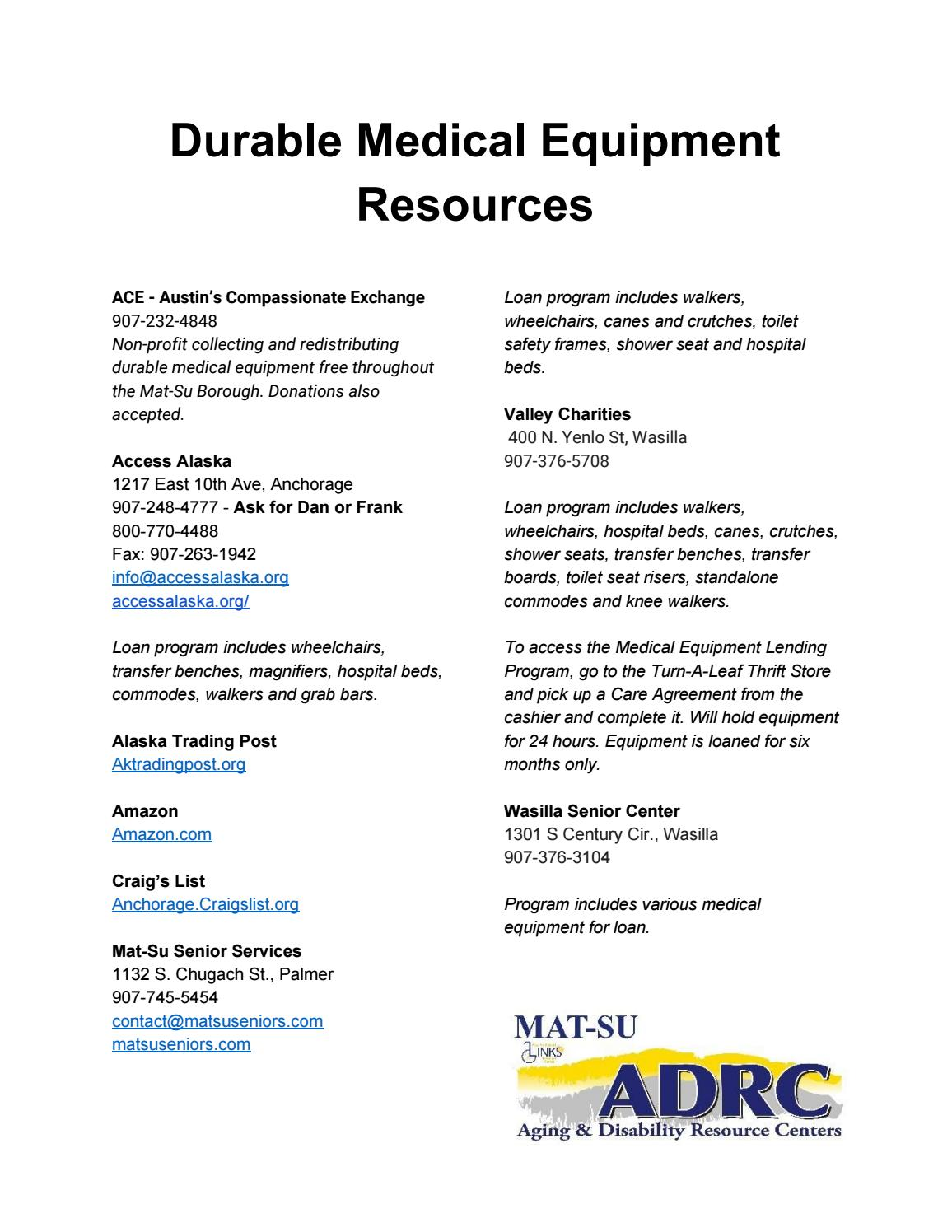 Durable Medical Equipment Resources By Adrc Mat Su Issuu