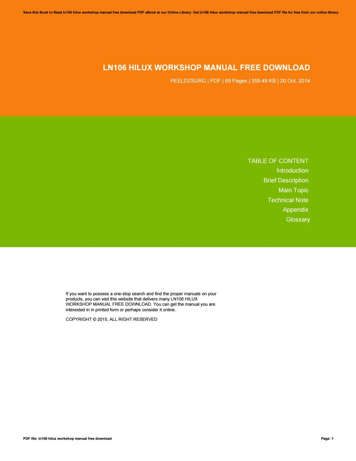 ln106 hilux workshop manual free download by danielmunoz1628 issuu rh issuu com ln106 repair manual ln106 repair manual
