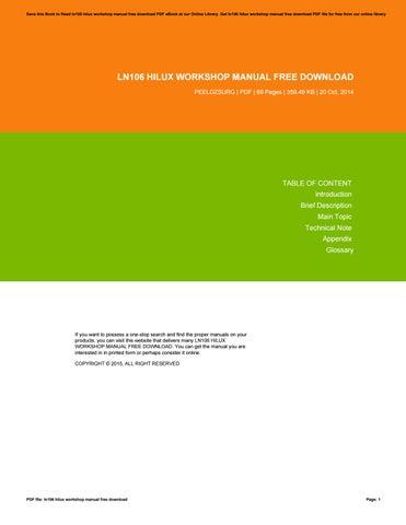 ln106 hilux workshop manual free download by danielmunoz1628 issuu rh issuu com Ford Workshop Manuals Professional Workshop Manuals