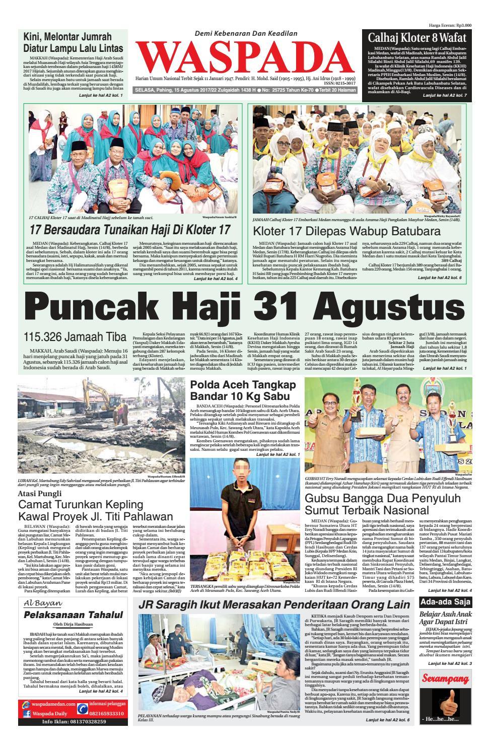 Waspada Selasa 15 Agustus 2017 By Harian Issuu Rejeki Anak Soleh 3 Voucher Carrefour Rp 200000