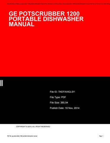 ge potscrubber 1200 dishwasher manual