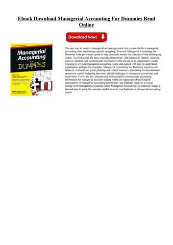 managerial accounting for dummies pdf  free