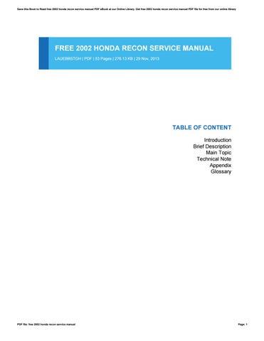 free 2002 honda recon service manual by vanessahendershot1305 issuu rh issuu com 2002 honda recon 250 service manual pdf 2002 honda recon owners manual