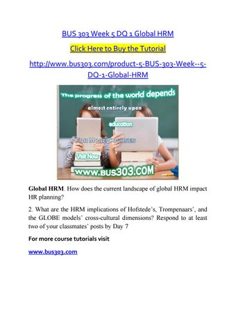 BUS 303 Week 5 DQ 1 Global HRM Click Here To Buy The Tutorial Bus303 Product 5DQ