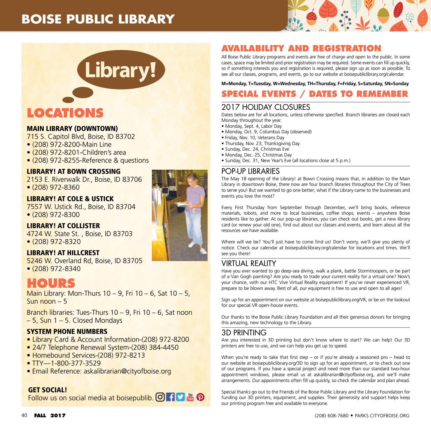 Boise Parks and Recreation Fall 2017 Activity Guide by Boise Parks ...