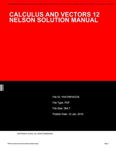 calculus and vectors 12 nelson solution manual by susanschuman3955 rh issuu com Vector Calculus Notes Vector Calculus Problems