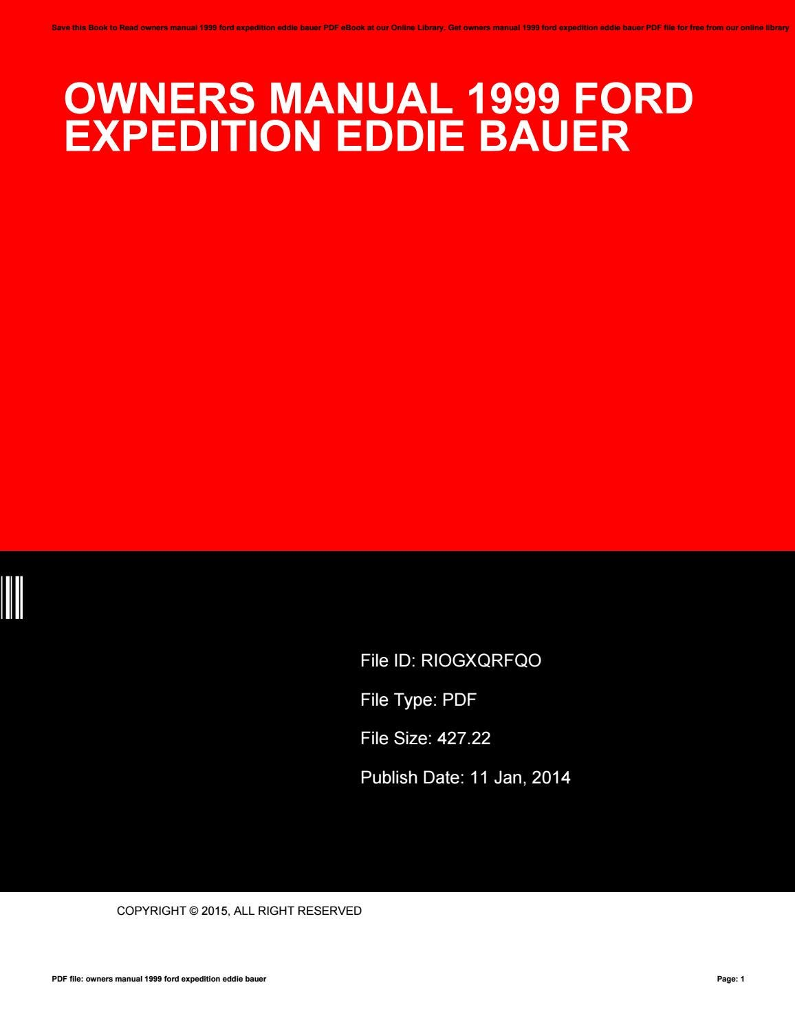 Owners manual 1999 ford expedition eddie bauer by SusanSchuman3955 - issuu