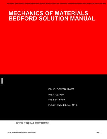 Mechanics Of Materials 5th Edition Solution Manual Pdf