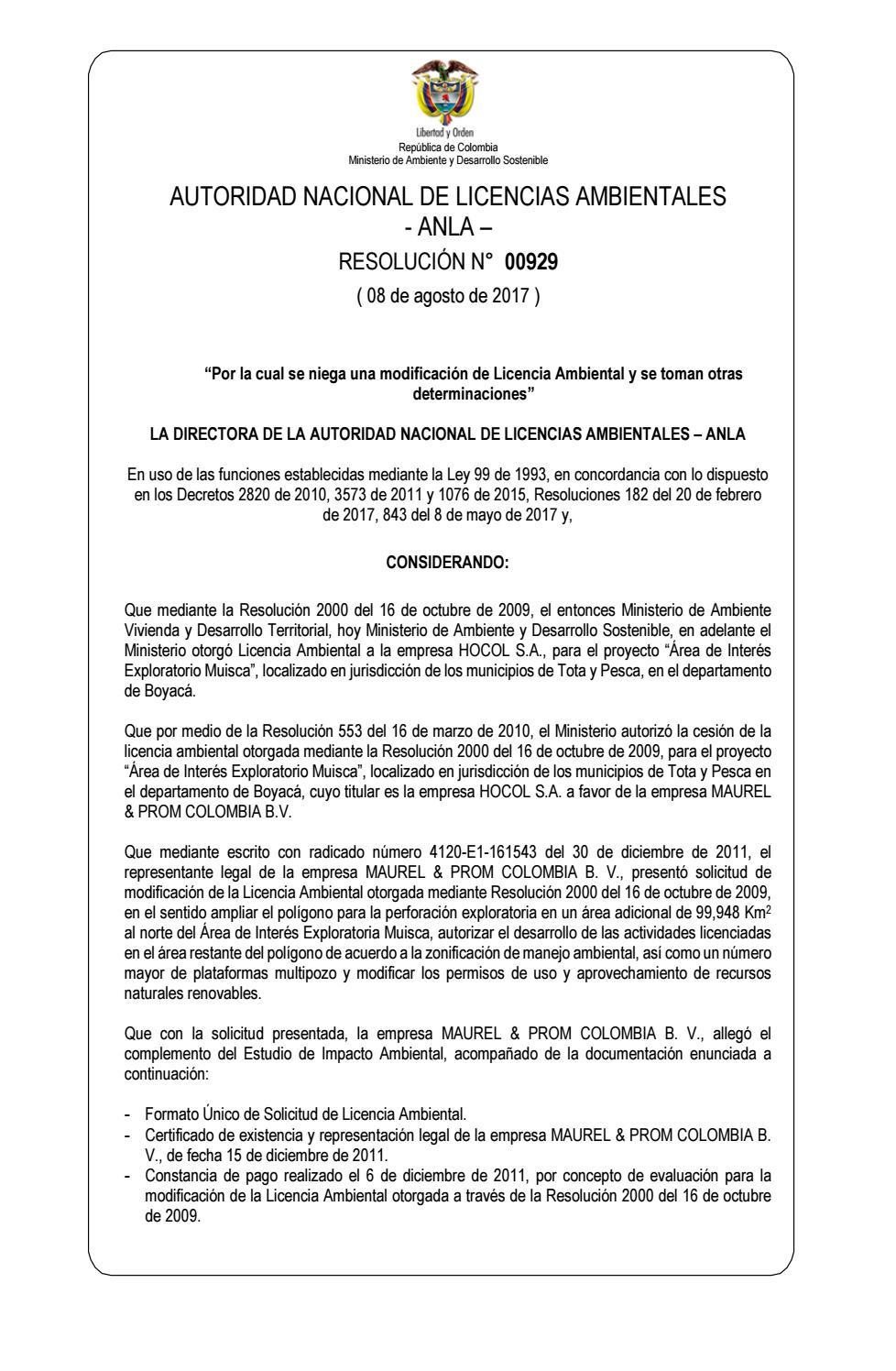 Resolución 0929 de 2017 - Caso Maurel & Prom Colombia by entreojosco ...