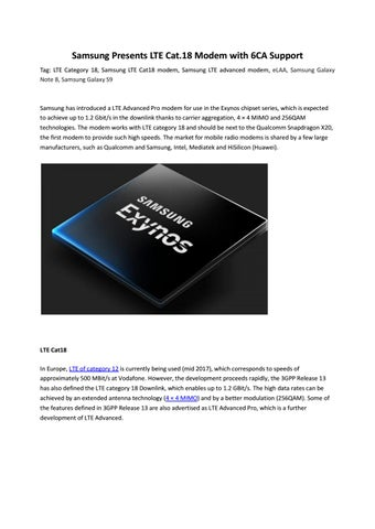 Samsung Presents LTE Cat 18 Modem with 6CA Support by Lte