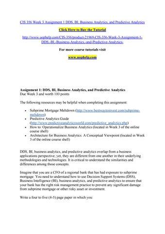 Business analytics homework help