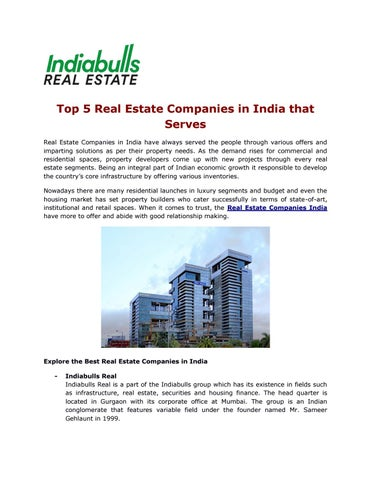 Top 5 Real Estate Companies In India That Serves Real Estate Companies In  India Have Always Served The People Through Various Offers And Imparting  Solutions ...