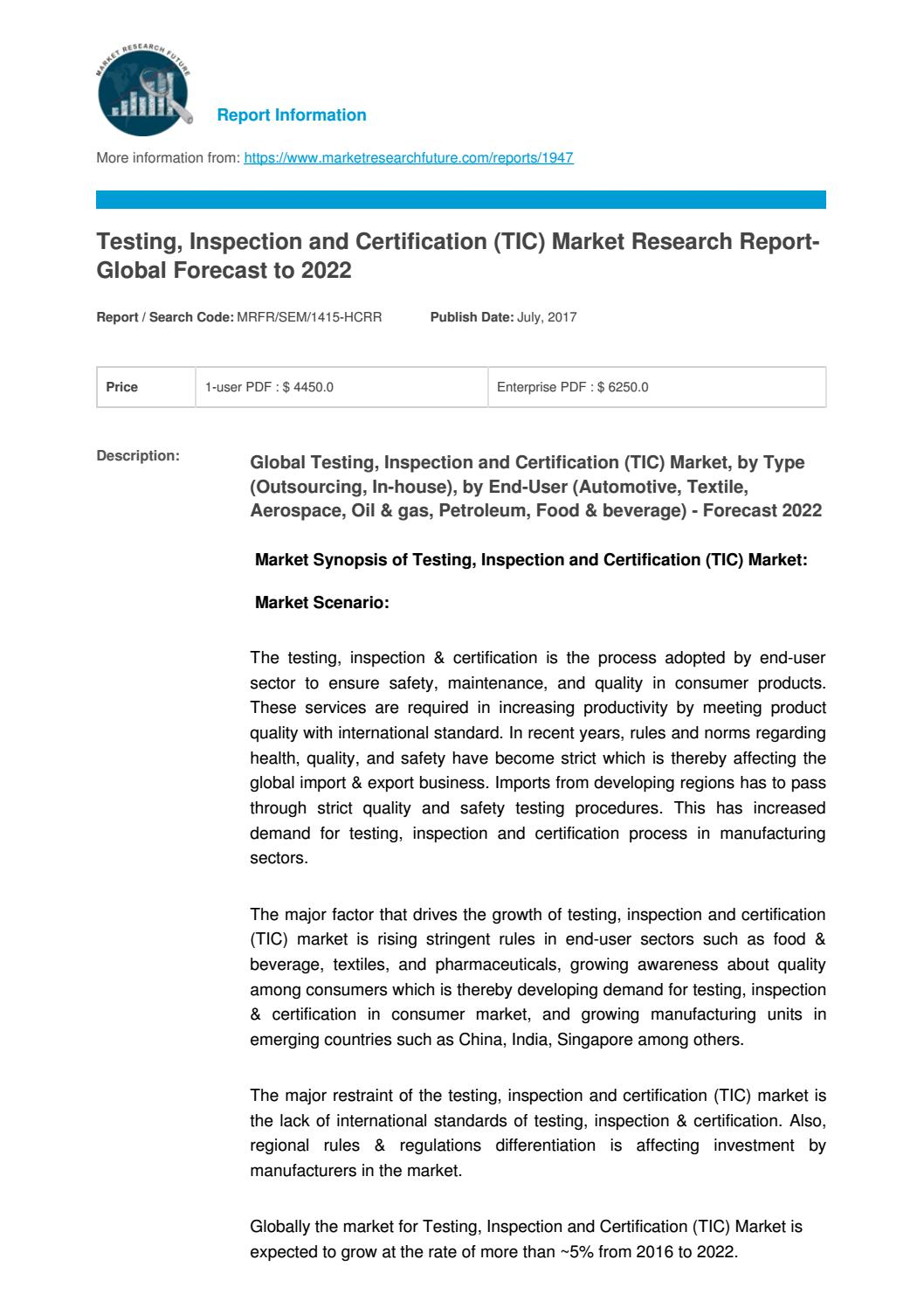 Testing, inspection and certification (tic) market 2017 sgs