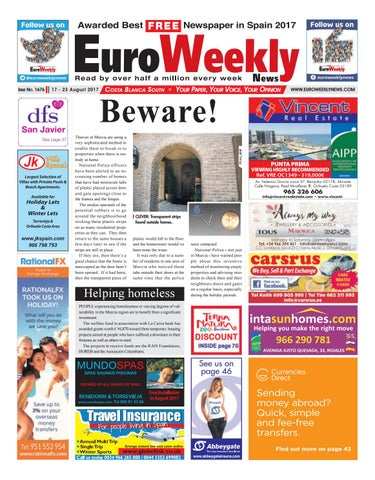 Euro weekly news costa blanca south 17 23 august 2017 issue 1676 page 1 fandeluxe Gallery