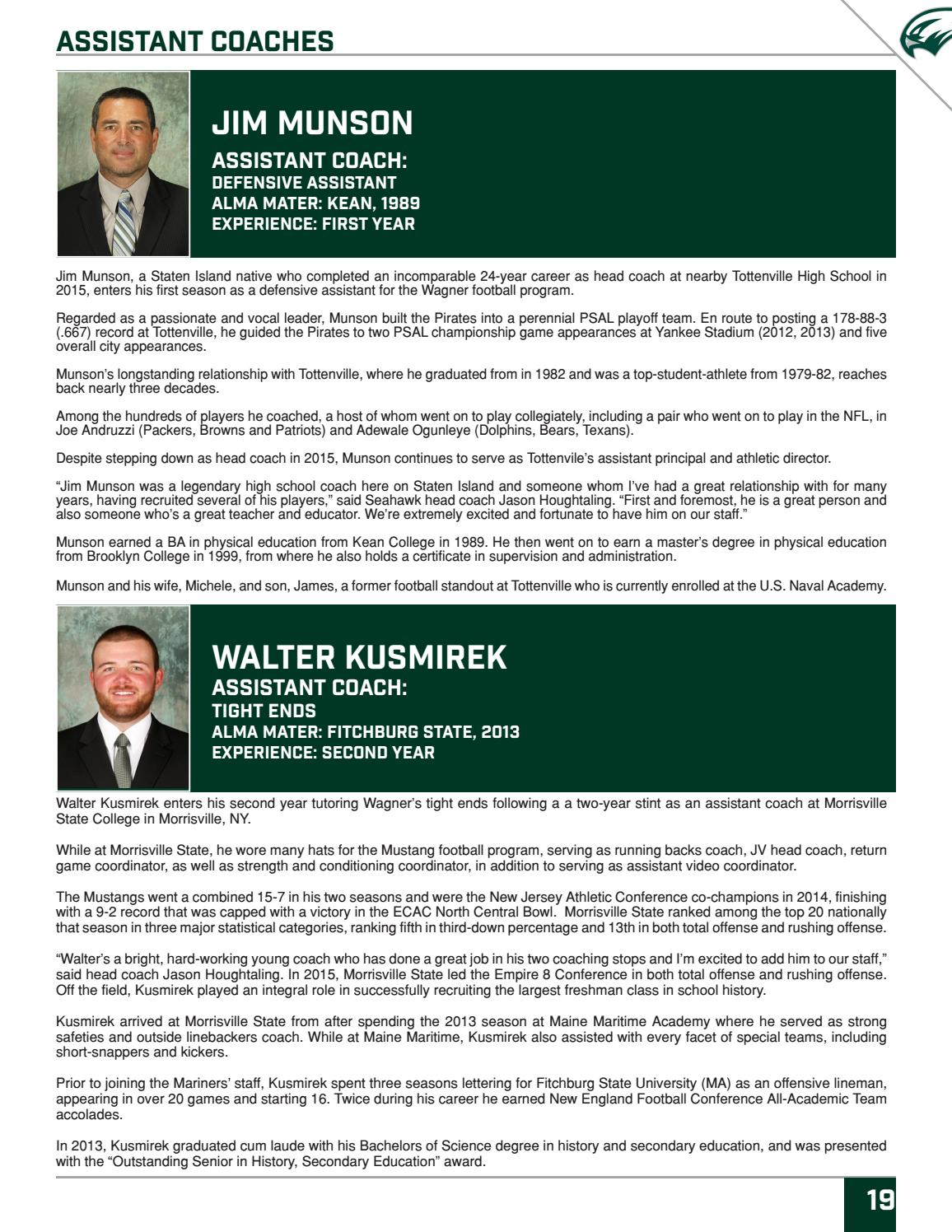 37acb7b08e0593 2017 Wagner College Football Media Guide by Wagner College Athletics - issuu