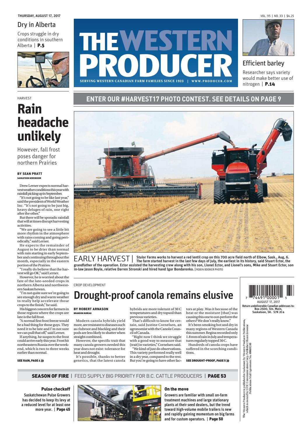 The western producer august 17, 2017 by The Western Producer