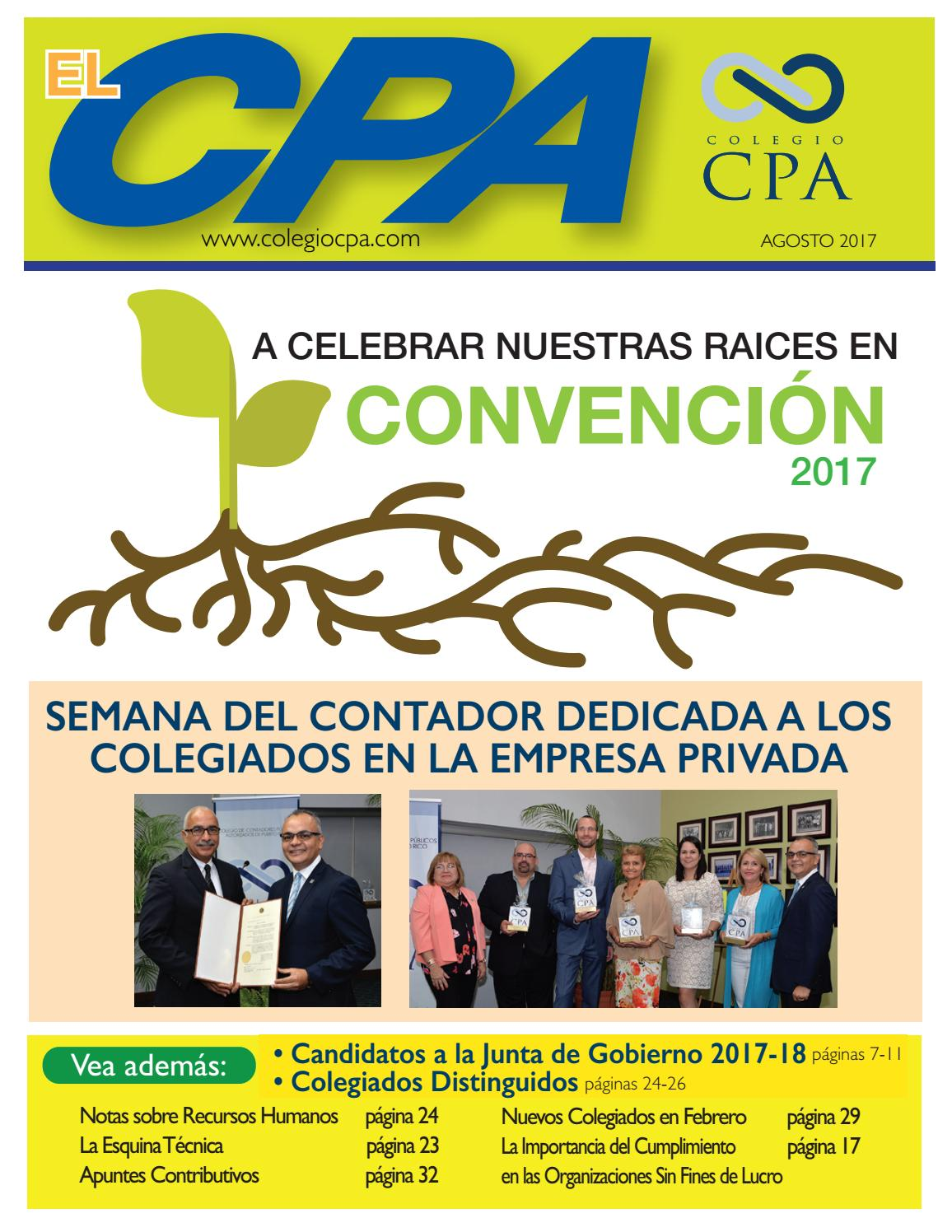 Revista El CPA (Agosto 2017) by Colegio de CPA PR - issuu