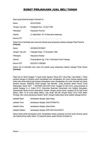 Surat Perjanjian Jual Beli Tanah Jl Malijo By Ririi Sayankk