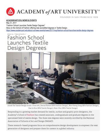 05 31 2017 Aacademyart Edu News Events By Academy Of Art University School Of Fashion Issuu